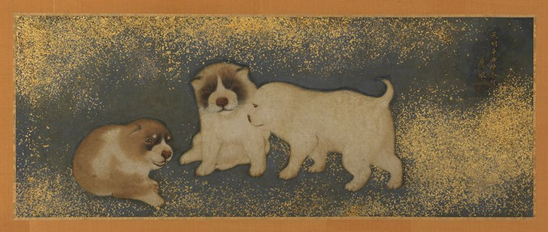 two panel screen: two puppies on R panel: brown puppy is scratching its face, and white puppy is looking on with mouth partially open; three puppies on L panel, one at far L is seated, while the two others are standing near each other; blue background with gold flecks