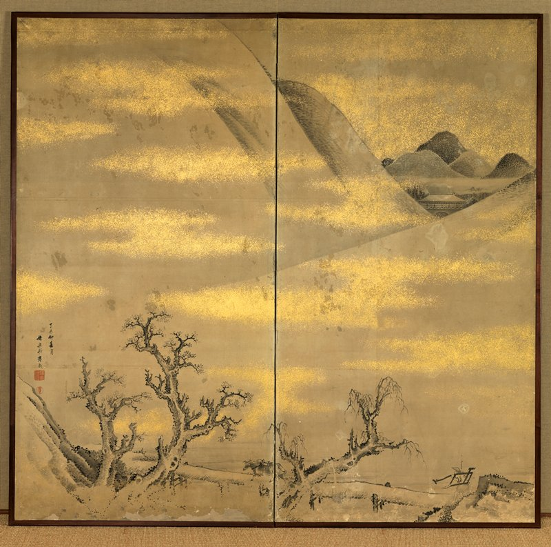 two panel folding screen: gnarled trees at bottom with long, low bridge and figure at LR carrying farming implement over bridge; mountain slopes above; dark mountain tops in cluster between white peaks, with building roof URQ