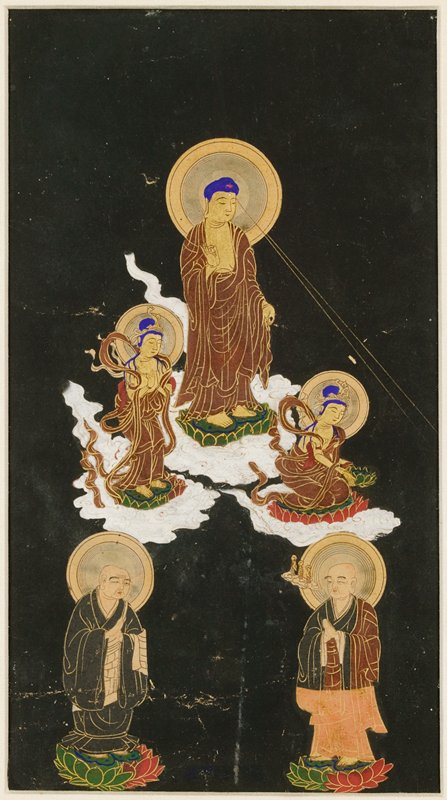 framed: male figure in draping brown robes, large double halos, standing on cloud at UC with PR hand up, and PL down; two golden rays emanate from forehead to LR; two attendants in robes on either side of figure's feet, one at L has bent knees and is clasping hands; attendant at R is crouching and proffering a lotus to the R; two men at lower edge; man at R has a small cloud with three small figures emerging from mouth; black background