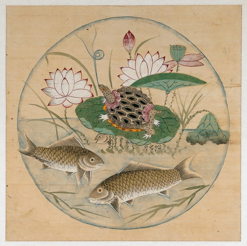 framed: tortoise standing on a lotus leaf at C, blowing a large blue bubble that encloses the entire image; two carp swimming along bottom, with a third peeking out from behind lotus leaf; pink and white lotus blossoms