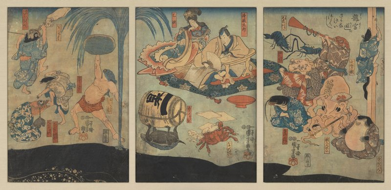 framed triptych: male and female figure seated on a cushion at C, watching the antics of creatures with human bodies with sea-creature heads: at L, fish with human bodies wrestle, while another figure holds up an object under the spray of a black whale at bottom; near C, a tortoise balances a sake barrel on its leg, while a crab cuts paper decorations; at R, a squid, fish, and other creatures play instruments, and look on