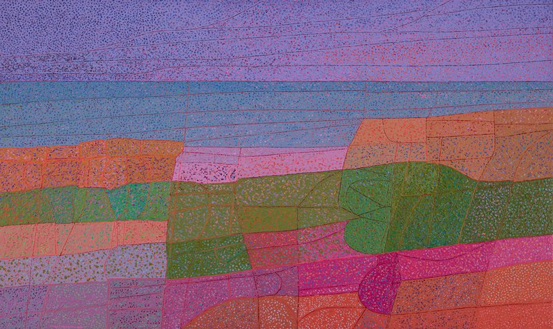 "abstracted landscape; primarily rectangular shapes--some curves--forming horizontal bands, delineated with thin red borders; thickly-applied surface pigments with openwork-like unpainted areas allowing bright multicolored underpainting to be visible; purple ""sky""; blue-grey ""water""; green, lavender, orange and pink ""rocks/land"" in foreground"