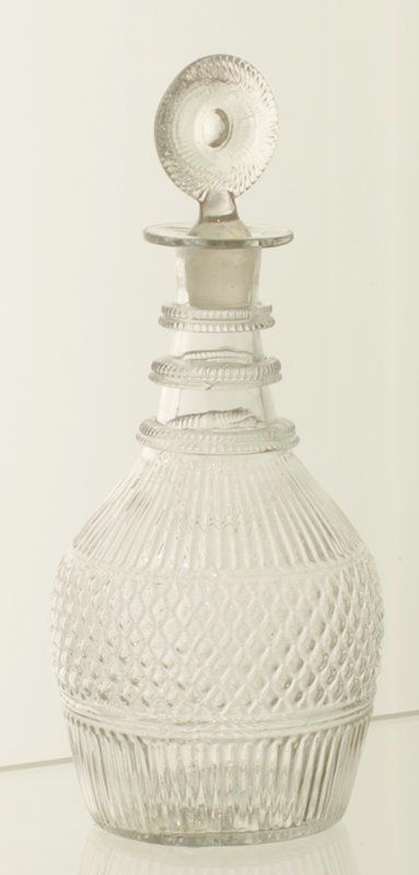 Decanter with stopper, molded white flint glass, American, XVIIIc cat. card dims H 10-1/8' Venetian Diamond pattern with ribbings