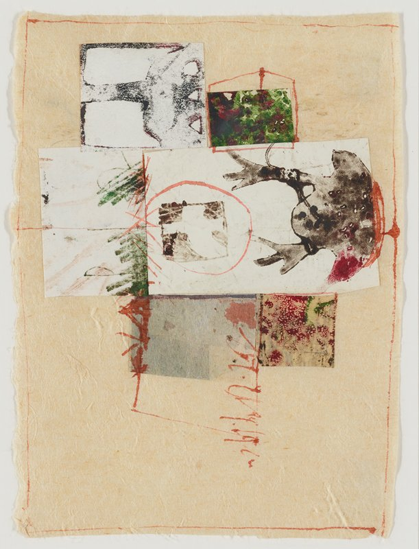 cream colored ground paper; applied rectangles and squares of paper at left, with some red linear marks along edges of ground sheet and on collage elements; frog-like form at top left of center in black and red; square and rectangle with red and green blotches; rectangle with three shades of pale grey below and to right of frog