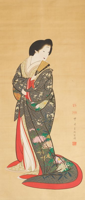a woman in a blue and gold kimono with various flowers and red edging looks over her left shoulder while fanning herself with a partially open hand fan; her teeth are blackened and she has two black dots on her forehead