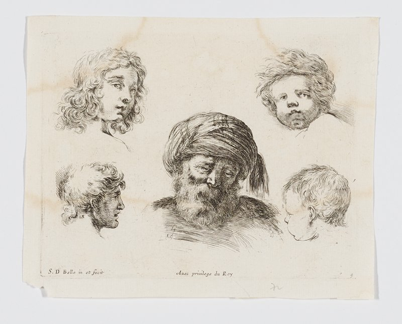 five studies of heads--youth in ULC, young man in LLC, child with dimpled chin in URC, infant in LLC, old man with beard and turban at center