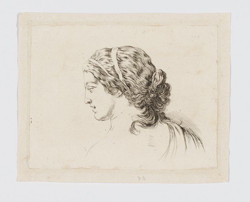 head of a woman with hair in a loose bun on the back of her head, wearing two ribbon headbands; sheet trimmed and glued to a paper mat-like border mount--inscriptions and plate number trimmed off