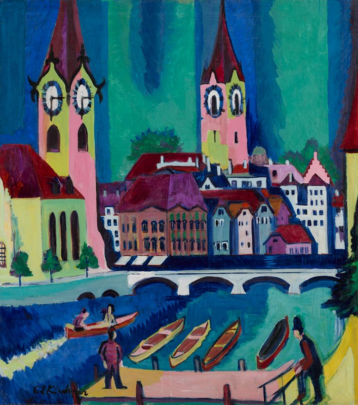 cityscape in bright color (predominately maroon, pink, green and blues) with two towers; clock tower at left; bridge with arches in middle ground; five boats behind dock in foreground, with two figures seated in one boat; two figures in foreground