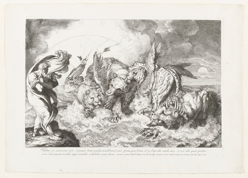 standing man (Daniel) at left, with long beard, with his draperies swirling up above his head win a wind; four large animals emerging from waves, from left: lion with wings being pulled up by hands and arms extending down from the sky, bear, cat (leopard) with three head visible, with two pairs of wings--one pair on its shoulders and one pair on his lower back, crouching lion-like animal with ten small graduated horns on either side of the crown of its head and a larger horn at the center with two human eyes and a human mouth; text at bottom