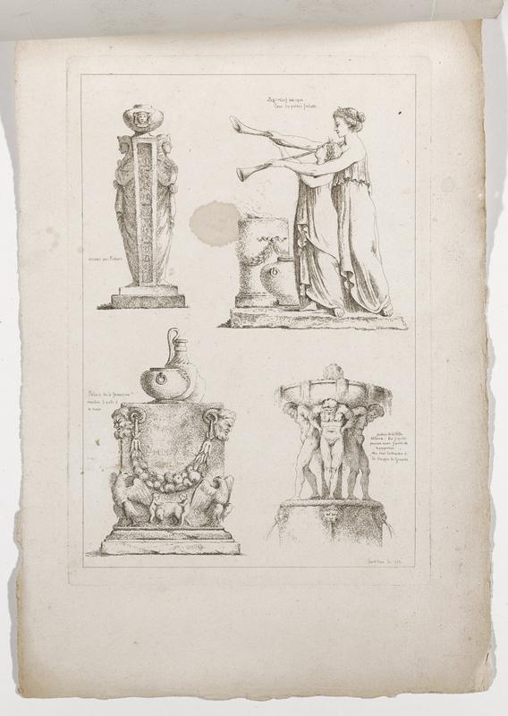 four images (clockwise from top left): tapering column flanked by two Egyptian figures, topped with egg-shaped element with face, woman wearing draped garment standing behind and assisting a youth wearing draperies playing two horns, basin supported by standing nude male figures, monument with eagles, two children with a boar, swag of fruit and pair of horned male heads, topped with vessels of various types; 2016.106.4.1-6 received bound together (stitched at top with string)