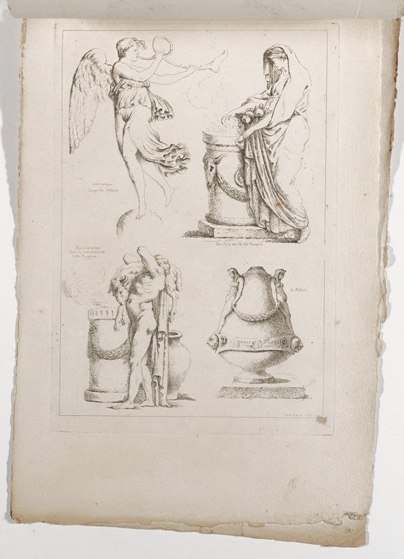 four images (clockwise from top right): standing woman holding fruit in the front folds of her garment, pouring water into a large drum-shaped vessel with cow's skull in relief, Egyptian vessel with pair of high relief standing nude female figures and band with lions' heads and text, standing nude man carrying a sheep on his PR shoulder, with two large vessels behind him, winged figure wearing a three-tiered garment, playing a horn; 2016.106.4.13-18 received bound together (stitched at top with string)