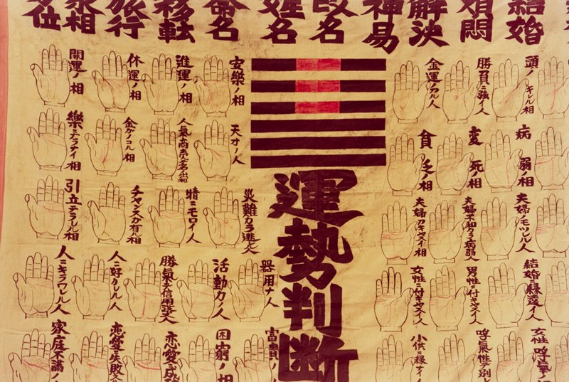 banner with bold, black Japanese writing across top and down C; rows of outlined left hands, with red highlighted lines down L side of banner; rows of outlined right hands, with red highlighted lines down R side of banner; group of 6 black horizontal bars at top, three of which are punctuated with red