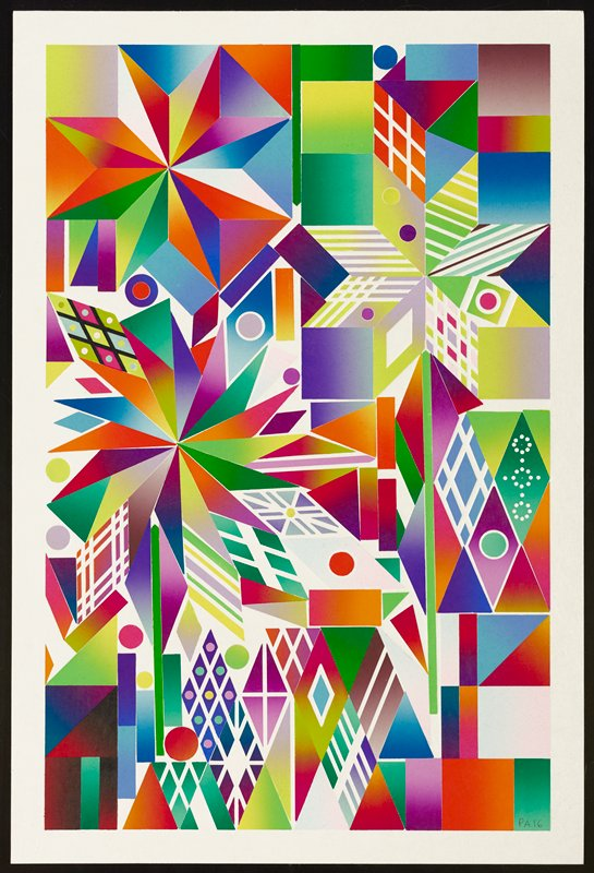 brightly colored print with geometric shapes in background and geometric flowers; pinwheel shaped flower at L with isosceles triangle petals; starburst flower at UL with diamond and triangle petals; flower on long stem at R with diamond petals in pastel colors; diamond, square, rectangular, and circle patterns in background