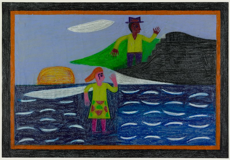 stylized drawing of pink-skinned girl with orange hair wearing a yellow dress with red and green half-circle patterns on skirt, magenta stockings and purple shoes, standing on water at center, with a standing brown-skinned man wearing a yellow shirt, purple pants and purple hat behind a black stepped element behind girl (on boat or far shore?); red-orange half-circle (setting sun?) at left; blue water with rows on white curved lines; one white football-shaped cloud; black and orange borders
