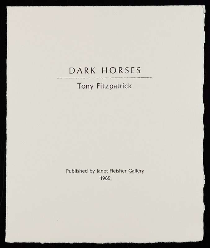 various imagery; silhouette of horse's head; cup in ULC; plane in URC; horseshoe near LLC; part of portfolio housed in red cloth-covered clamshell box with title on spine