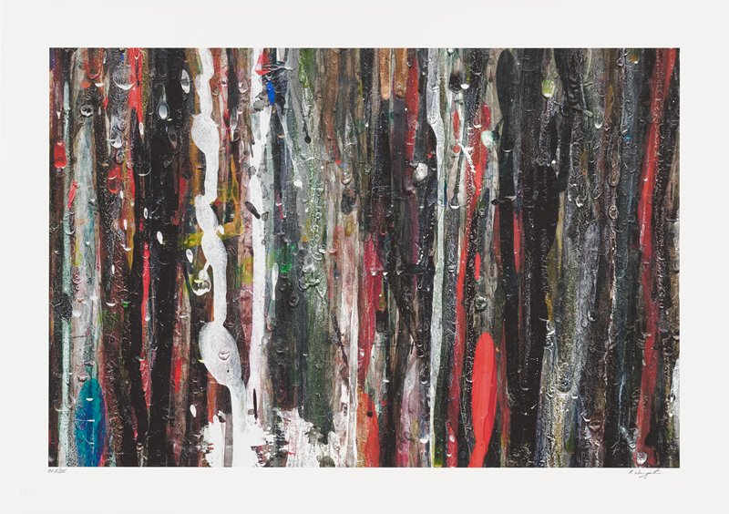 abstract image; multi-colored pigments forming vertical lines that overlap