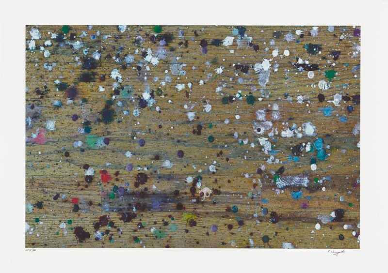 abstract image; wood floor background with multicolored pigment splatters; partial imprint of shoe print in lower right quadrant