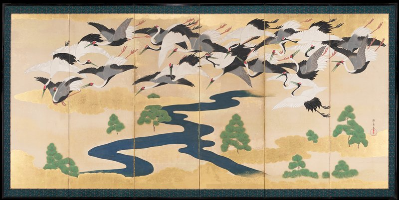 six paneled folding screen depicting flock of flying cranes in a golden sky with gilded clouds; winding river across lower middle of image; eight pine trees line lower landscape; untranslated characters in black ink in LRC; red stamp in LRC