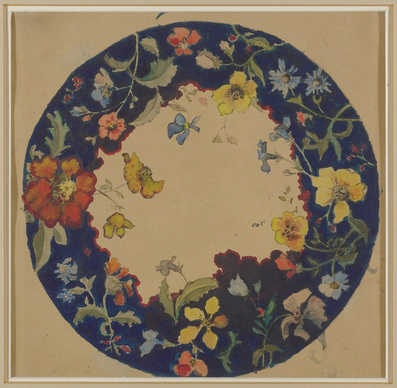 round design for a small dinner plate; dark blue around edge with freely-painted flowers predominately in yellow and red
