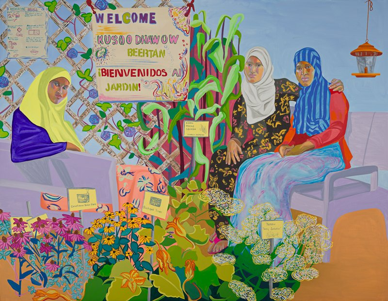 portrait of three seated women surrounded by plants, flowers and signage; single seated woman on left wearing yellow head scarf, blue shirt, pink floral skirt and leans on purple arm rest; sign reading 'HARVESTING BASICS' with text and drawings in ULC; two seated women on right- one with white scarf and black dress with yellow and pink flowers, PL arm around seated woman on right, who wears blue striped head scarf, red top and blue and pink gradated long skirt, both sitting on purple bench; orange hanging lamp in URC; groups of flowers with signs/ labels in foreground; lattice with climbing plant with blue flowers in background on left