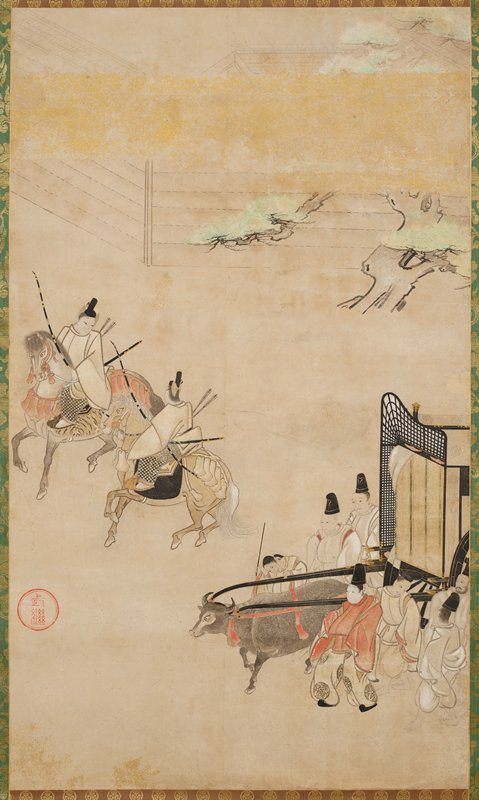 two men riding horseback holding longbows and arrows at L; men alongside an ox pulling a carriage LR; tree and wall at top with gold cloud band