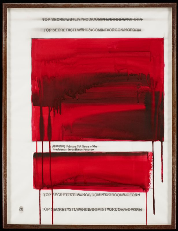 "two rectangular blocks of red with horizontal black brushstrokes, with drips extending from bottom; four lines of identical text with horizontal lines drawn through them--two lines at top of sheet, two lines at bottom of sheet; two lines of text between red rectangles--bottom line of text is, ""President's Surveillance Program""; received in heavy distressed, darkened metal frame"