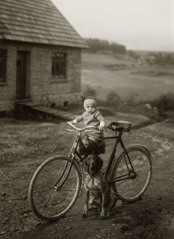an infant seated on the cross bar of a bicycle with a dog seated on the ground next to the bicycle; out of focus building and landscape and background