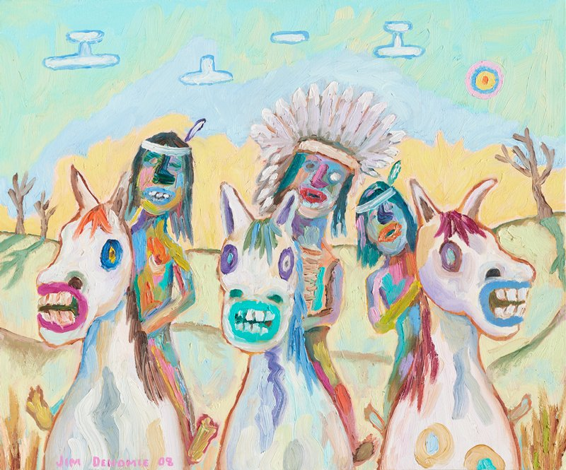 cartoonish style; three Native American painted in multicolors, each seated on a white horse with teeth bared, and brightly-colored manes and lips; pastel yellow, blue and green sky with blue-edged white forms and a pink, red, blue and yellow target in URC