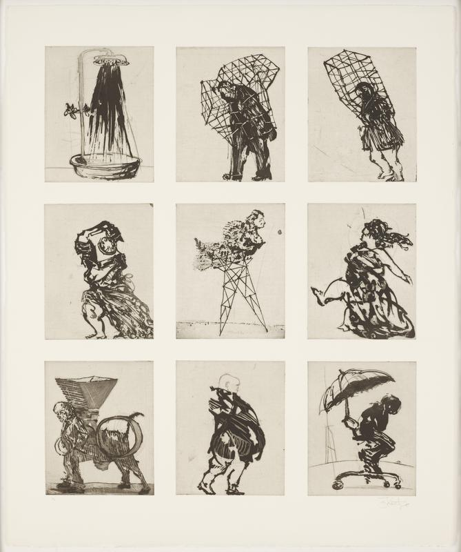 """nine black-and-white etchings printed on one sheet of paper; images of a shower, people inside of geometric """"cages"""", a woman with a rotary phone as her head, a centaur in a suit, a figure seated in a desk chair with an umbrella over their head; black wood frame"""