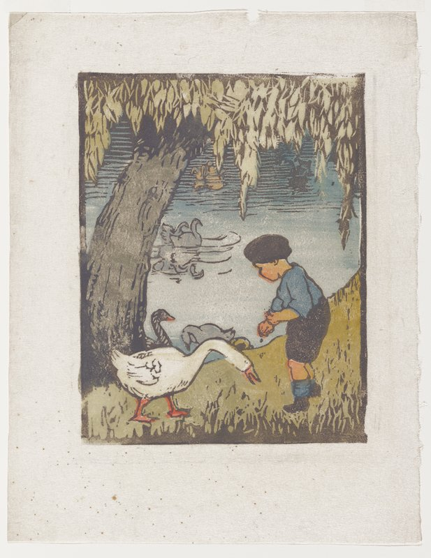 little boy wearing black shorts, hat and shoes, and a blue shirt and socks, feeding ducks and swans at the edge of a body of water; tree at left. Unsigned.