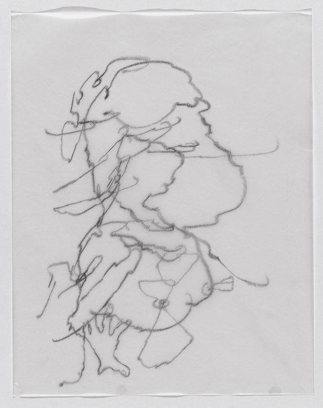 highly abstracted squiggly line drawing, possibly of 3/4 portrait of woman and bust, with hand at LL