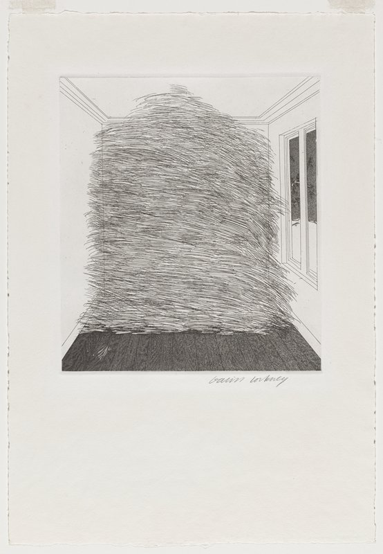 black and white etching; interior view with windows on right side; large pile of hay in center, filling the room from floor to ceiling