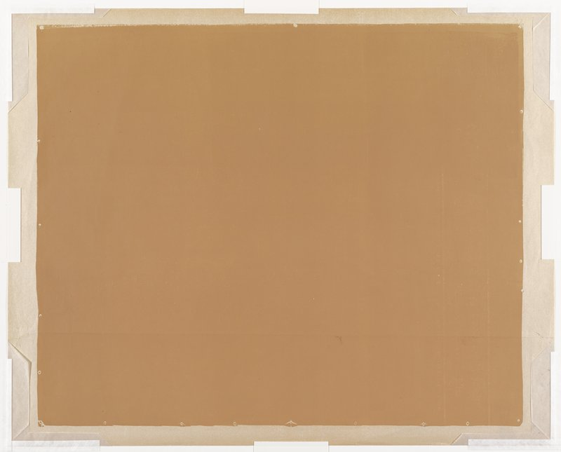 From a set of five progressive working proofs for Le Banderillo. rectangular field of tan on white sheet; irregular edges simulating paper with tacks