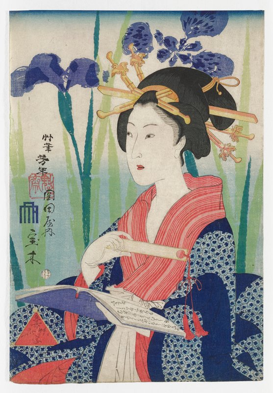 portrait of a woman holding a tan bookmark-like object in front of her chest in her PR hand, with a large round hole in right side with a pair of red tassels hanging from it, and a book with a purple cover in her PL hand; woman wears dark blue kimono with light blue circular pattern, with red striped collar; woman's hair ornaments have bird and leaf designs; very large, slightly abstracted purple flowers with leaves and stems in two shades of green behind woman