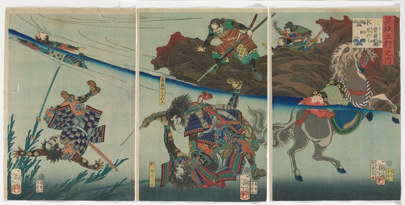 three separate sheets; underwater fight with two men in armor at center, another man falling backwards under water at left, and swimming figure at top left; four men on rocky shore at top center and URQ; swimming grey horse at right
