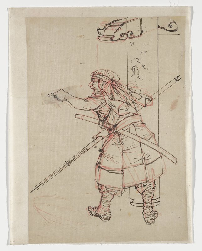 drawing in black and red; standing figure seen from back, pointing with PL hand, with open mouth and face in profile from PL; man is wearing a sleeveless red garment, boots, and a head scarf; man holds a spear; column in background at right; attached to off white mount sheet