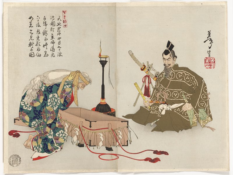 two sheets joined together; old woman with long white hair wearing a yellow headband and a garment with green ground, multicolored moths and white and blue foliage and flowers, bending down to look inside a brown box at left; seated man at right wearing an olive green garment decorated with white circles, lines and spots, with a sword on a bamboo tripod behind man to his right; pale blue ground