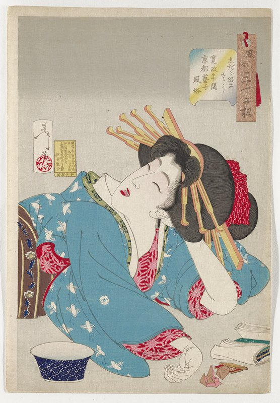 head and upper body of reclining woman, with her PL hand behind her head, face upturned, eyes closed and tongue sticking out slightly, with her PR arm in front of her; woman wearing blue kimono with bird patterns in white, pink and red undergarment and brown, yellow, grey and blue obi with flower band; blue and white bowl in LLC, papers and brown box and small papers (?) in LRC