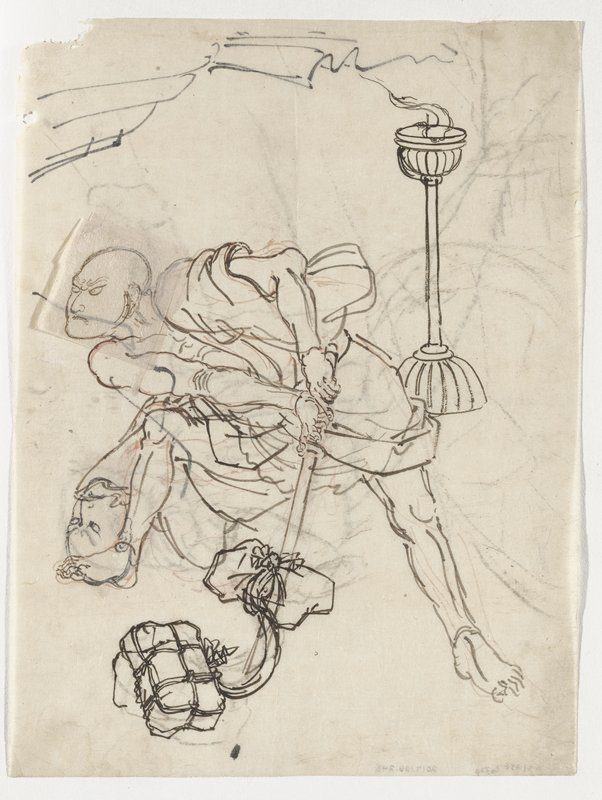 drawing in black ink with touches of red; grimacing bald man wearing a short kimono, bending slightly down with feet wide apart, with sword held down; study of second head on PR foot of figure; two bundles at bottom, LLQ; lantern, URQ; some linear sketches (drapery?) on verso; unsigned