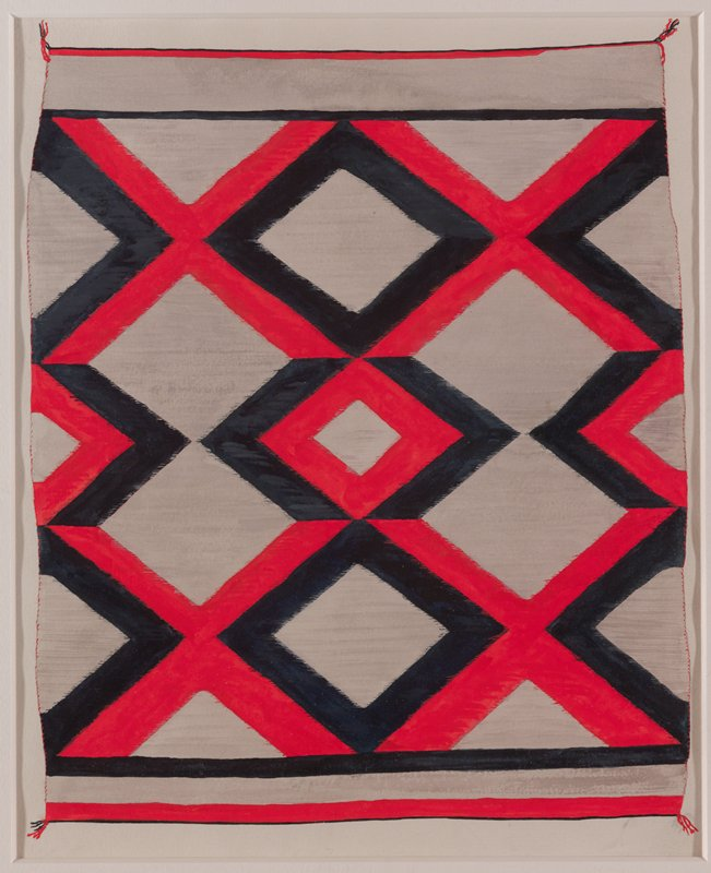 watercolor image of textile with white bakcground; black and red diamond outline motif; framed