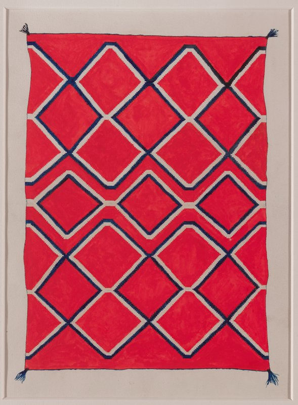 depiction of red textile with interlocking blue and white zigzagging diamonds; tassels; framed