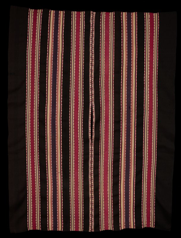 two panels with central opening; bands of dark brown with rows of stripes of various widths in rose, pink, olive, yellow, blue, pale green and cream, with bands of brown or red with white in wave designs; central pair of bands with floral motifs in reds, cream and blue