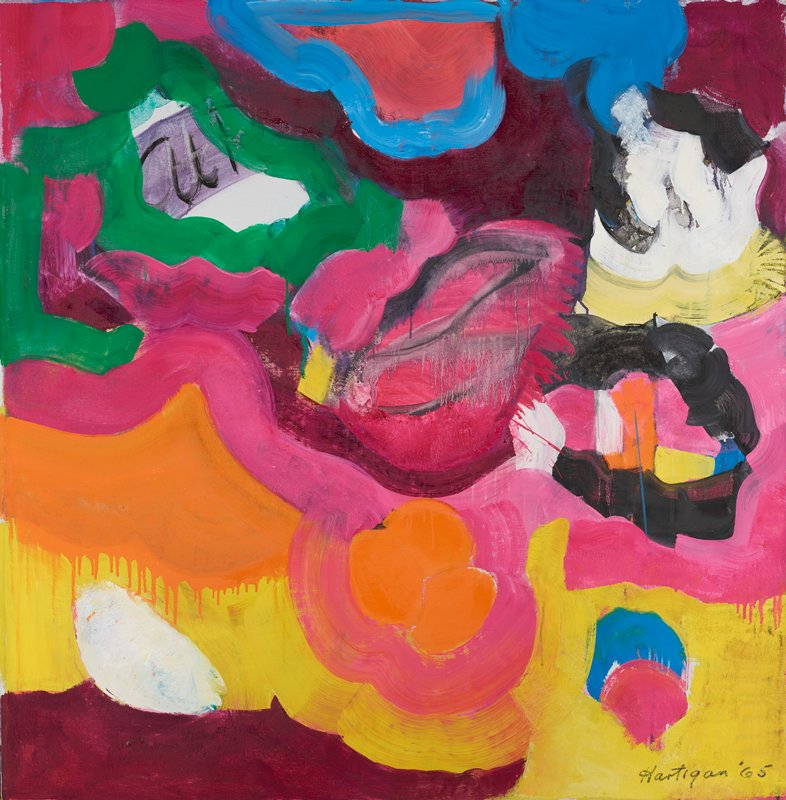 abstract painting in multi-colored pigments; thick lines that form curves and waves in blue, green, pink, black and yellow pigments; burgundy section in LLC; orange section with drips in center on center left; pink center with black brushstrokes and drips; blue circle with pink circular shapes overlap yellow area