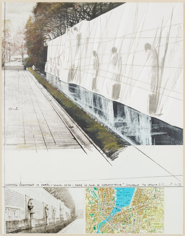 sketch at top of monument at left with sculptures of figures, extending into background, covered with white folded material, wrapped with threads; trees in ULC; photograph of monument with sculptures of figures in LLC; map in LRC