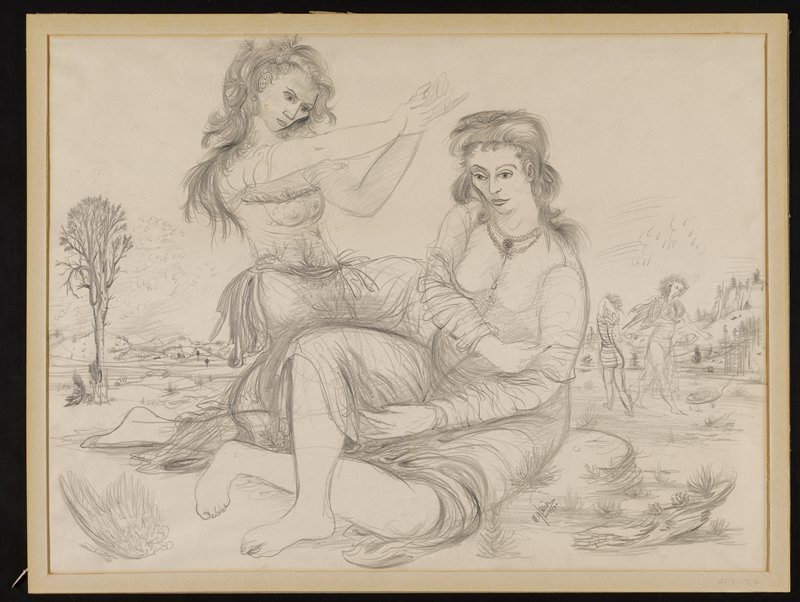drawn image on yellowed paper; female figures in a landscape setting; seated figure in center with a floral necklace and draping garments; kneeling figure on left extends outstretched arms over seated figure; two semi-nude figures in background on right side; tree on left side; small hills dot the background on right and left edges; paper adhered to mat on top right and left edges