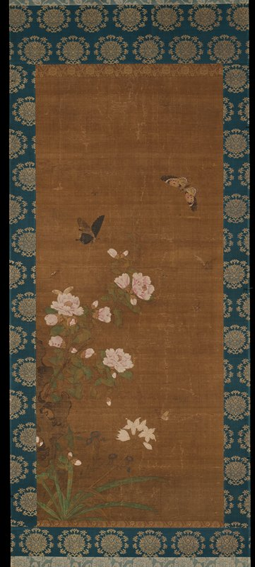 six butterflies of various sizes, two bees, and a wasp at top; small blue flowers with red centers, small white flowers, and large pink peonies with a rock at LLQ