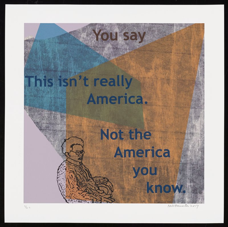 cartoonish elderly figure seated on chair facing R near BC; grainy wood-grain background in gray, with overlapping transparent peach and blue shapes; text reads: You say / This isn't really / America. / Not the America you know.