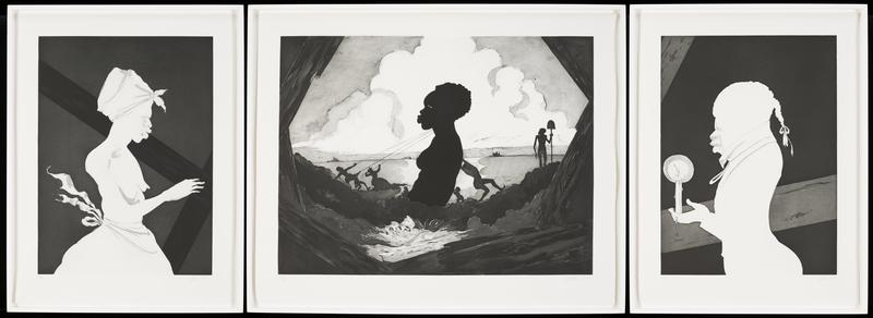 triptych: R image: female figure in white silhouette facing R, with hair in kerchief, bare chested, puffy apron or skirt; C image depicts silhouetted female upper torso and head, being pulled by three smaller silhouetted figures with rope at L, and pushed by two smaller silhouetted figures at R; L image masculine figure in white silhouette wearing ponytail wig, high-necked jacket, holding a burning candle in outstretched hand