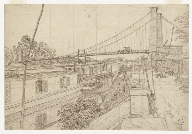 black and white drawing of a river scene; several barges crowd the water way; bankside on right with loosely erected sticks and fences; small shrub in bottom center; bridge in background with a horse and carriage crossing; long stick/ wood post on the left edge; faint grid drawn across entire scene; written number 16 with a circle around it in URC