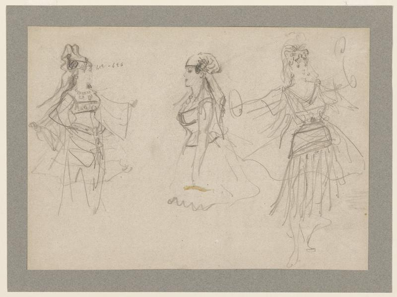 "three female figures all dressed in elaborate flowing garments; left and center figure are partially drawn, with legs missing; series of numbers reading, ""412-696"" located to the right of left figure's face"